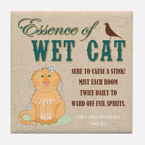 ESSENCE OF WET CAT Tile Coaster