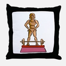 Weightlifting Trophy Throw Pillow