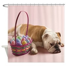 EASTER BULLDOG Shower Curtain