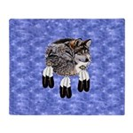 Eagle Feathers Wolf Throw Blanket