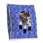 Eagle Feathers Wolf Burlap Throw Pillow