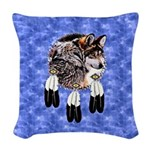 Eagle Feathers Wolf Woven Throw Pillow