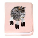 Eagle Feathers Wolf baby blanket