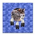 Eagle Feathers Wolf Tile Coaster
