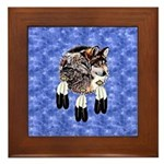 Eagle Feathers Wolf Framed Tile