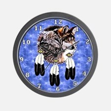 Eagle Feathers Wolf Wall Clock