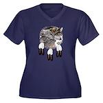 Eagle Feathers Wolf Women's Plus Size V-Neck Dark