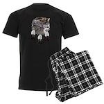 Eagle Feathers Wolf Men's Dark Pajamas