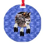Eagle Feathers Wolf Round Ornament