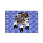 Eagle Feathers Wolf Rectangle Magnet