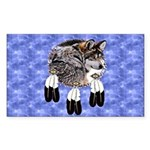 Eagle Feathers Wolf Sticker (Rectangle)