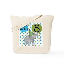 Elephant 5th Birthday Tote Bag