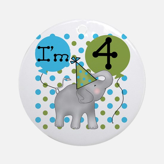 Elephant 4th Birthday Ornament (Round)