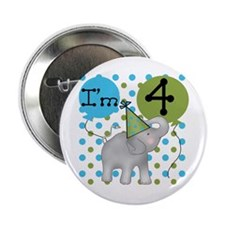 Elephant 4th Birthday Button