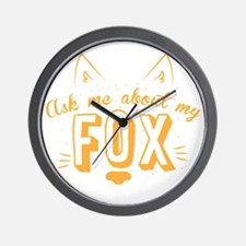 Ask me about my Fox (cute retro vintage Wall Clock