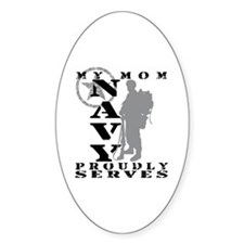 Mom Proudly Serves 2 - NAVY Oval Decal
