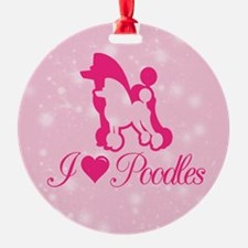 Poodle with stars background Ornament