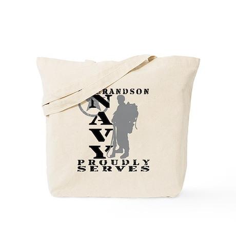 Grandson Proudly Serves 2 - NAVY Tote Bag