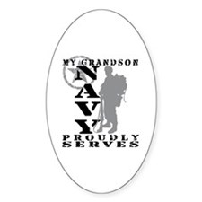 Grandson Proudly Serves 2 - NAVY Oval Decal