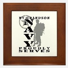 Grandson Proudly Serves 2 - NAVY Framed Tile
