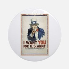 WWI US Army Uncle Sam I Want You Round Ornament