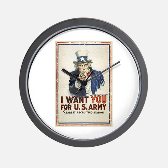 WWI US Army Uncle Sam I Want You Wall Clock
