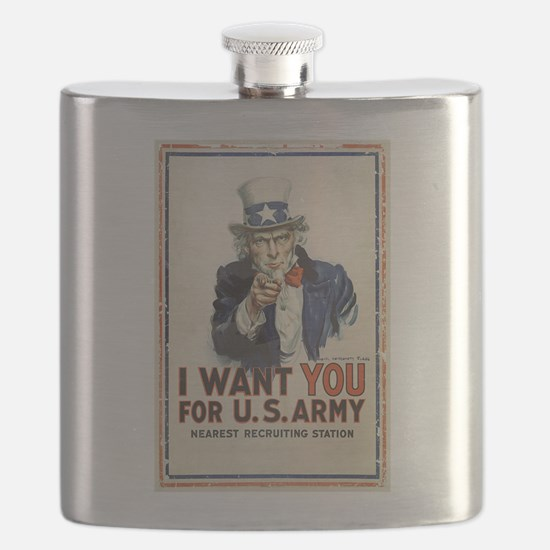 WWI US Army Uncle Sam I Want You Flask