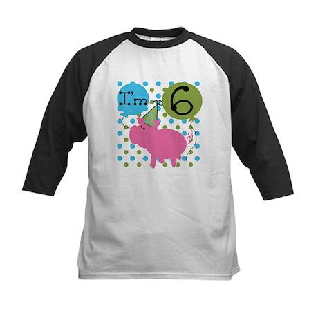 Pig 6th Birthday Kids Baseball Jersey