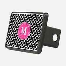 Black Pink Quatrefoil Monogram Hitch Cover