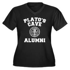 Plato Women's Plus Size V-Neck Dark T-Shirt