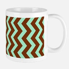 Mint Green Chocolate Bordered Zigzags Mugs