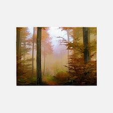 Foggy Autumn Forest 5'x7'Area Rug