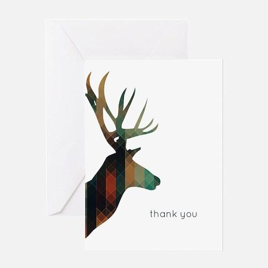 Geometric Deer Thank You Greeting Cards