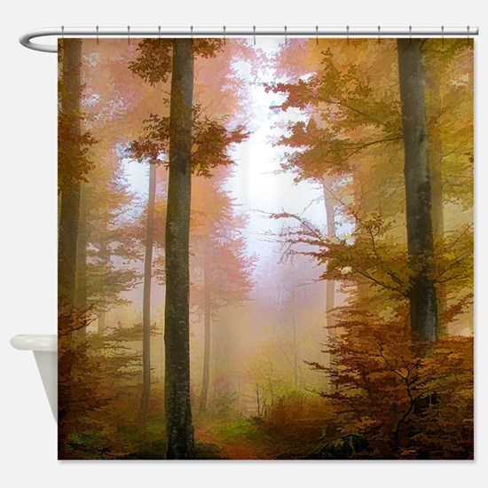 Foggy Autumn Forest Shower Curtain