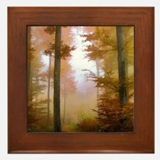 Foggy Autumn Forest Framed Tile