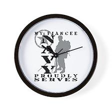 Fiancee Proudly Serves 2 - NAVY Wall Clock
