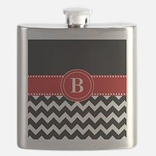 Black Red Chevron Monogram Flask