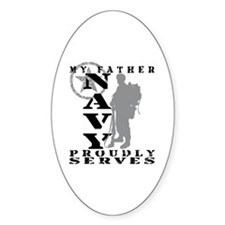 Father Proudly Serves 2 - NAVY Oval Decal