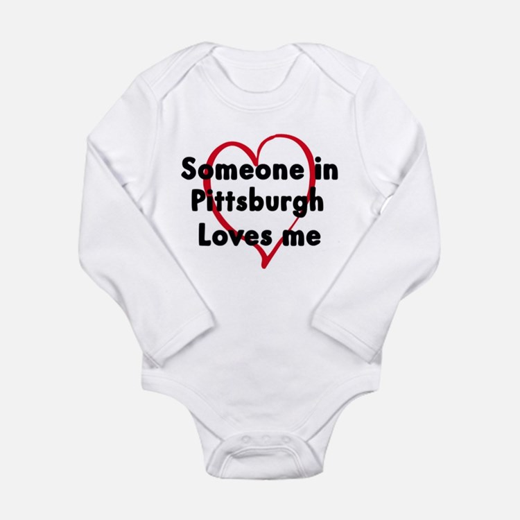Cute Someone north dakota loves me Long Sleeve Infant Bodysuit