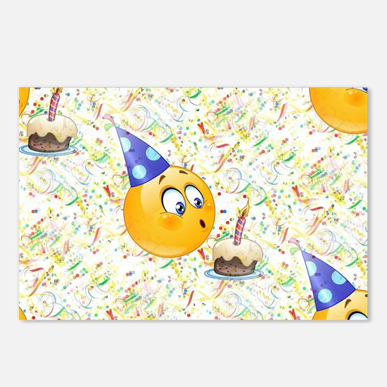 happy birthday emoji Postcards (Package of 8)