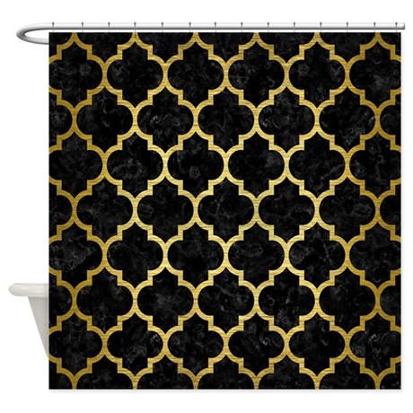 TIL1 BK MARBLE GOLD Shower Curtain By TrendiPatterns