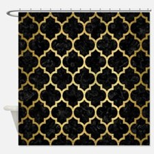TIL1 BK MARBLE GOLD Shower Curtain