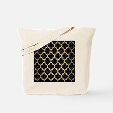 TILE1 BLACK MARBLE & GOLD BRUSHED METAL Tote Bag