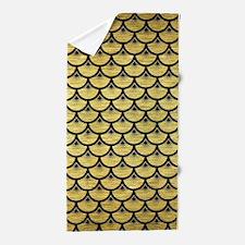 SCA3 BK MARBLE GOLD (R) Beach Towel