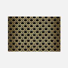 SCA2 BK MARBLE GOLD Rectangle Magnet