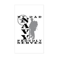 Dad Proudly Serves 2 - NAVY Rectangle Decal