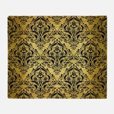 DAMASK1 BLACK MARBLE & GOLD BRUSHED Throw Blanket