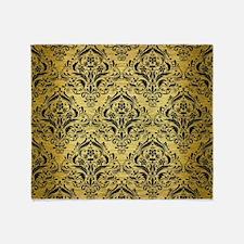 DMS1 BK MARBLE GOLD (R) Throw Blanket
