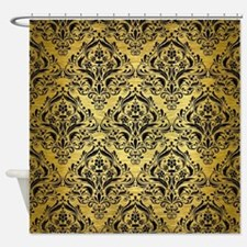 DMS1 BK MARBLE GOLD (R) Shower Curtain