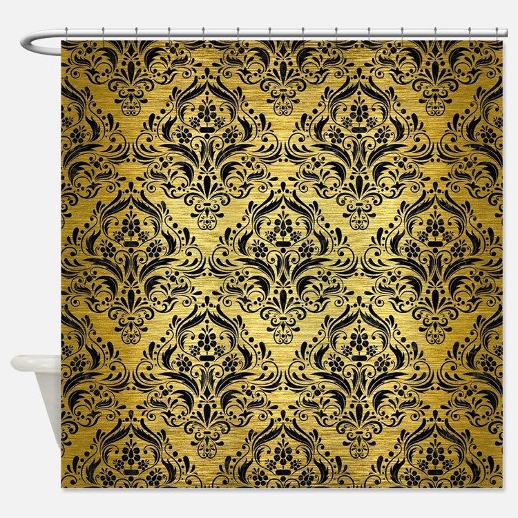 Black Gold Shower Curtains